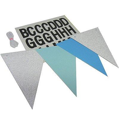 Bandeirolas com Letras Adesivas Azul e Prata