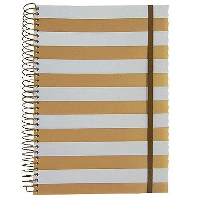 Caderno Universitário 192 Folhas Listras Ouro