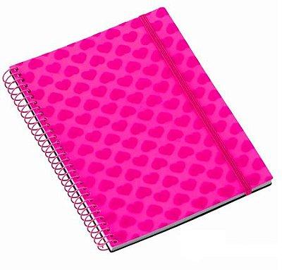 Caderno Médio 96 Folhas Corações Glitter Rosa
