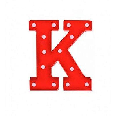 Luminária Letra K Vermelha