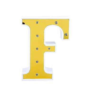 Luminária Letra F Dourada