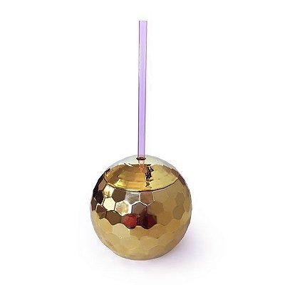 Copo com Canudo Disco Club Dourado