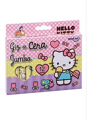 Giz de Cera Jumbo Hello Kitty 12 Cores Rosa
