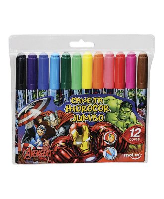 Caneta Hidrocor Jumbo Avengers
