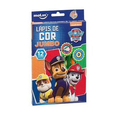 Lápis de Cor Jumbo 12 Cores Patrol