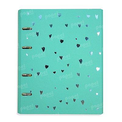Caderno Fichário Corações Azul