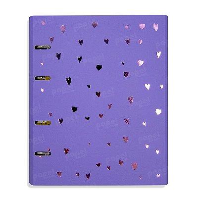 Caderno Fichário Corações LIlás