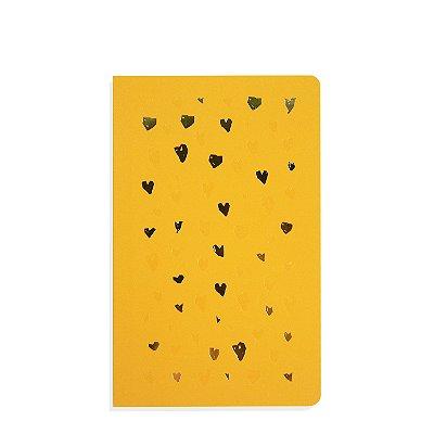Caderno Flexível Corações Amarelo Pautado