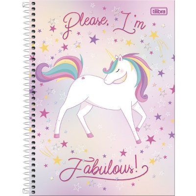 Caderno 160 Folhas Unicórnio Fabulous