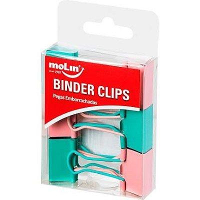 Kit Binder 25mm Verde e Rosa 6 Unidades