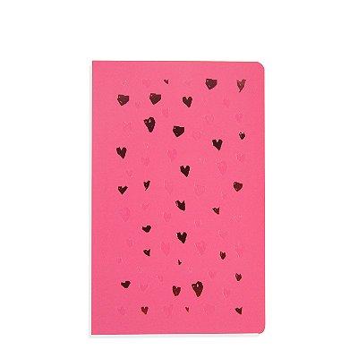 Caderno Flexível Corações Rosa Pontilhado