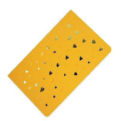 Caderno Flexível Corações Amarelo Pontilhado