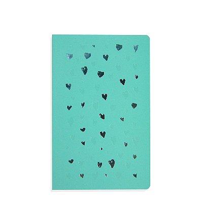 Caderno Flexível Corações Azul Pontilhado