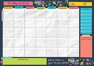 Planner Mensal em Bloco Floral
