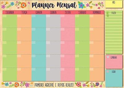 Planner Mensal em Bloco Colorido