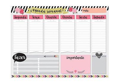 Planner Semanal em Bloco Listras