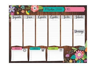 Planner Semanal em Bloco Jardineira