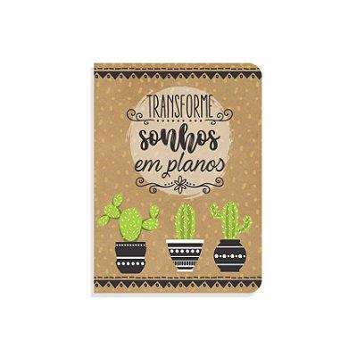 Mini Caderninho Brochura Cactos Sem Pauta