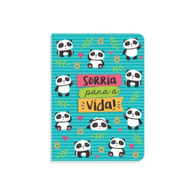 Mini Caderninho Brochura Ursinho Panda Sem Pauta