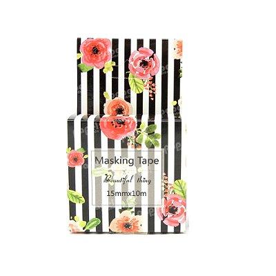 Fita Adesiva Washi Tape Listras Floral