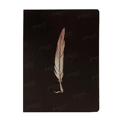 Caderno Flexível Pena Bronze Pautado Grande
