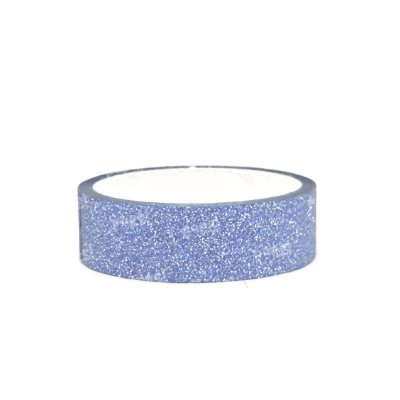 Fita Adesiva Washi Tape Glitter Azul Claro