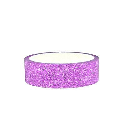Fita Adesiva Washi Tape Glitter Rosa