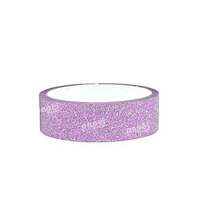 Fita Adesiva Washi Tape Glitter Rosa Claro