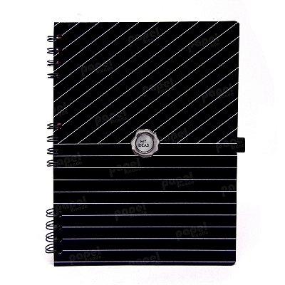Caderno Espiral Black Risca de Giz Pautado