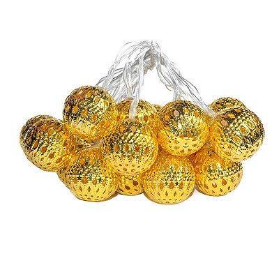 Varal de Luz Bolinha Marroquina Dourada