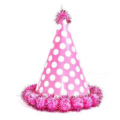 Chapéu de Aniversário Pompom Rosa