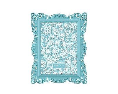 Porta Retrato Azul Borda Flor 10x15cm