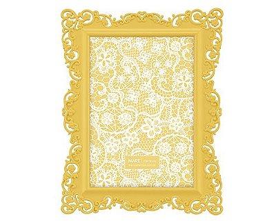 Porta Retrato Amarelo Borda Flor 13x18cm
