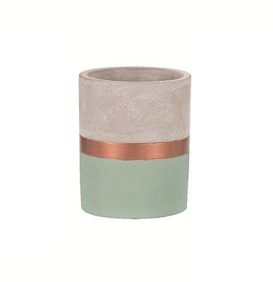 Porta Treco de Cimento Verde e Cobre