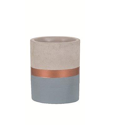 Porta Treco de Cimento Azul e Cobre