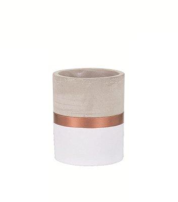 Porta Treco de Cimento Branco e Cobre