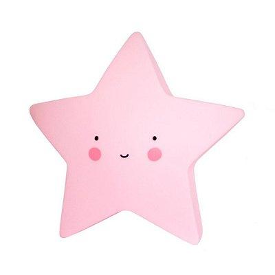 Mini Luminária Estrela Feliz rosa