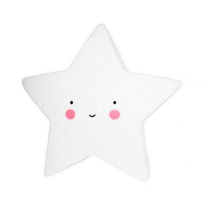 Mini Luminária Estrela Feliz Branca