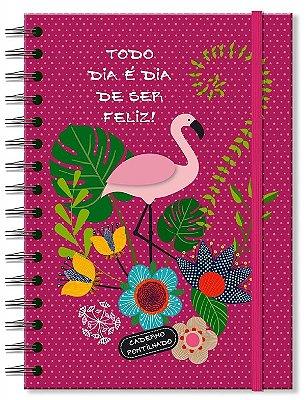 Caderno Midi Pontilhado Flamingo