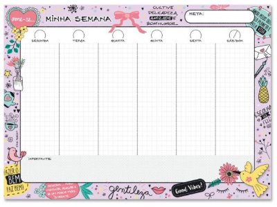 Planner Semanal em Bloco Beija-Flor
