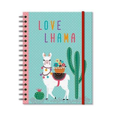 Caderno Estampado Lhama 100 folhas