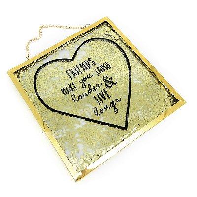 Placa de Vidro Glitter Dourada