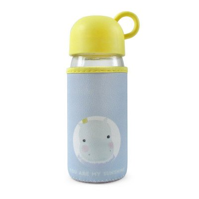 Garrafinha de Vidro com Proteção Hipopótamo 420ml