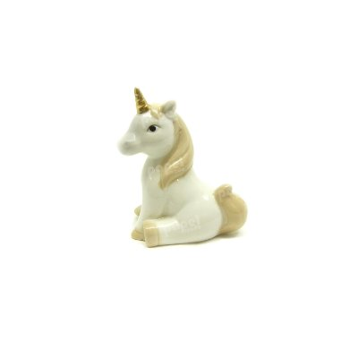 Unicórnio de Porcelana Sentado Pequeno