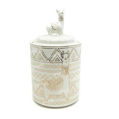 Pote de Porcelana com Tampa Lhama