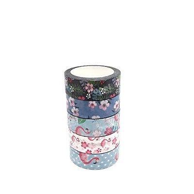 Fita Adesiva Washi Tape Flores e Flamingos