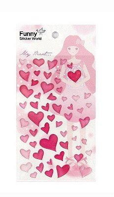 Adesivo Corações Rosa em Relevo