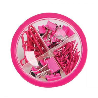 Estojo Clips e Binders Rosa