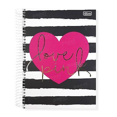 Caderno Coração Love Pink 96 Folhas