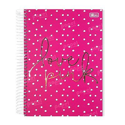 Caderno Poá Rosa Love Pink 96 Folhas